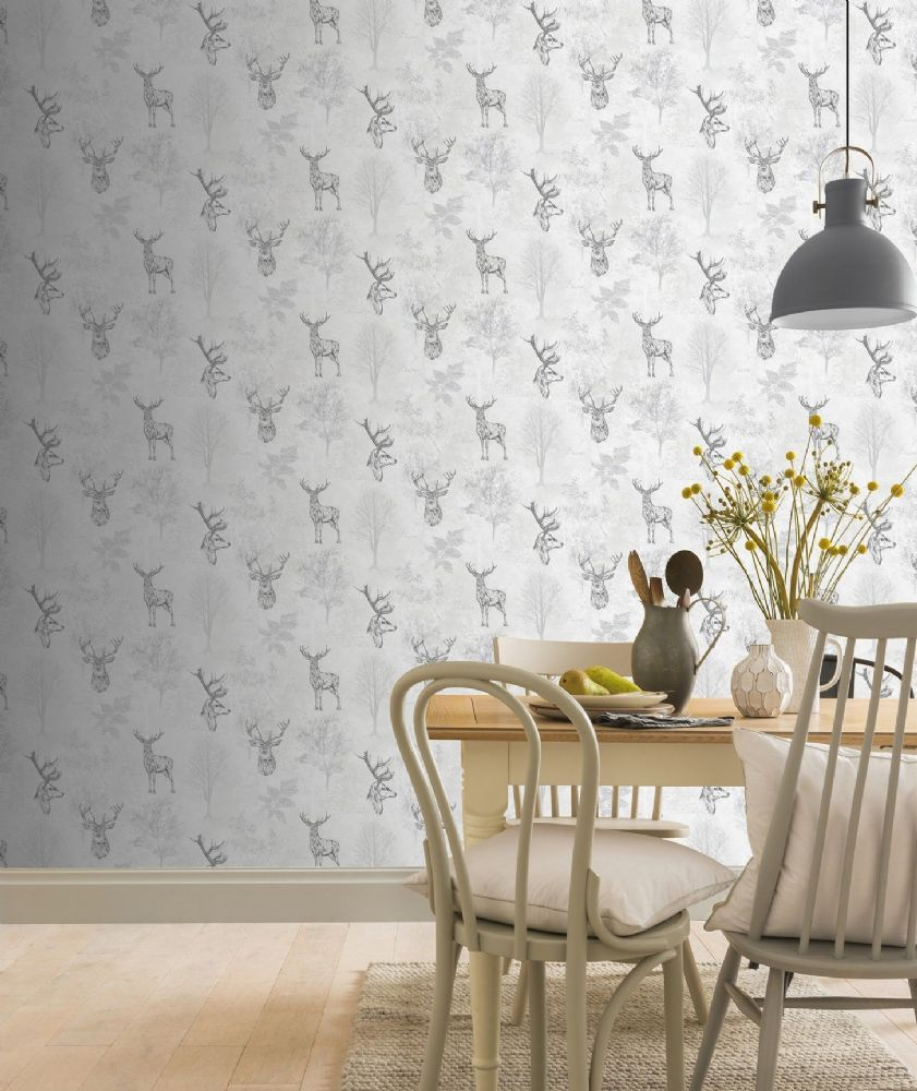 Arthouse Etched Stag Mono 901808 Wallpaper